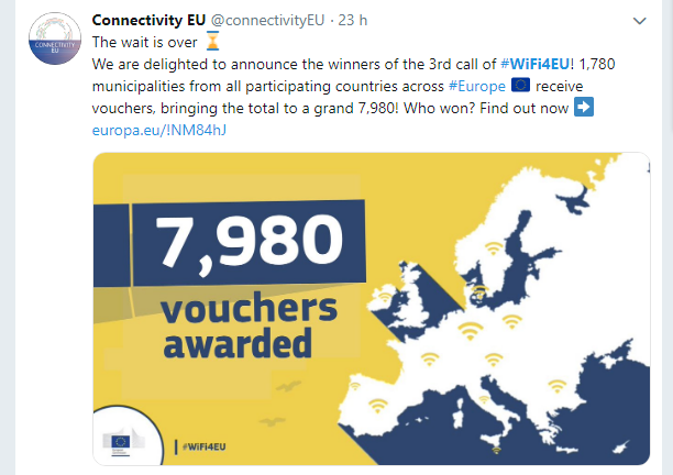 WiFi4EU: L'Italia si aggiudica altri 142 voucher