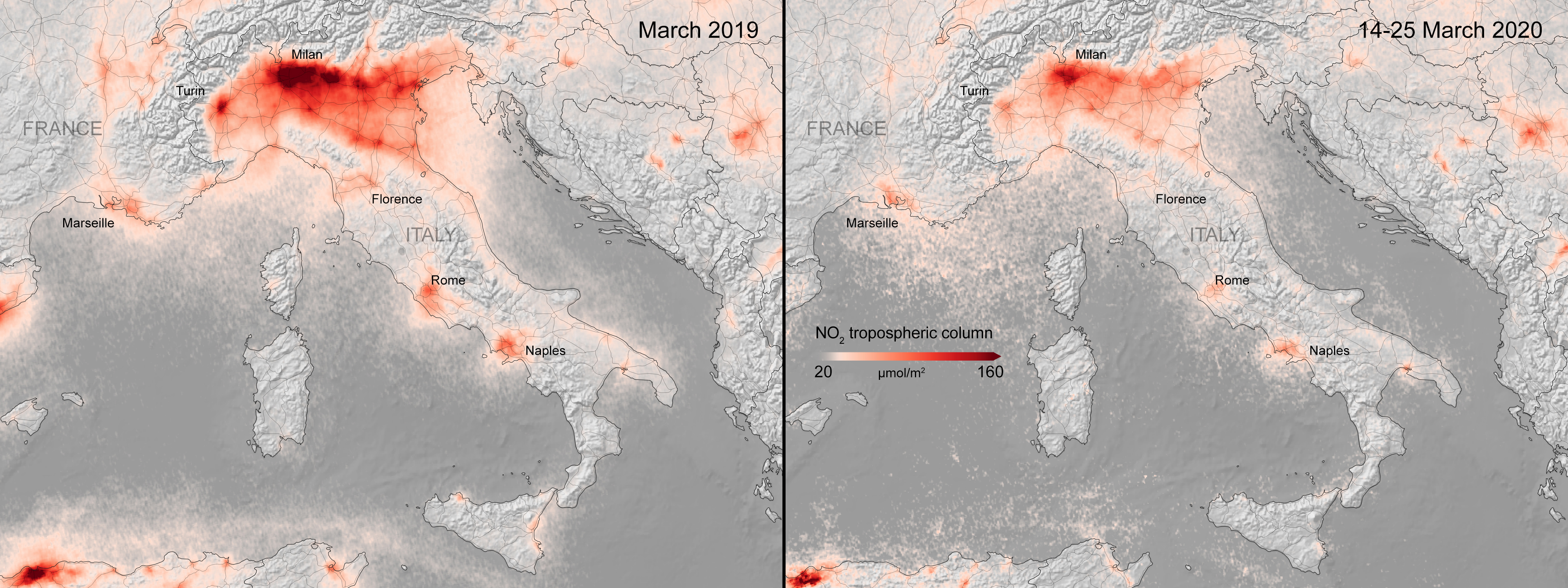 mappa inquinamento coronavirus